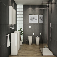 Exclusive Plan For Luxury Bathroom Design Furniture And Gray Tiles - Karbonix