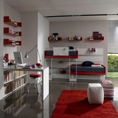 Gorgeous Bunk Beds Teen Space By Zalf White Red - Karbonix