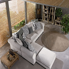 Gray L Sofa With Chic Round Rug Exotic Bamboo Curtain Wall Seems Exciting - Karbonix