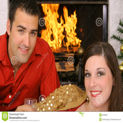 Happy Gorgeous Couple In Front Of Fireplace Stock Photo Image - Karbonix