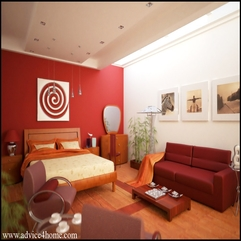 Hazelnut Interior Bedroom Design With Red Wall And Cherry Bad - Karbonix