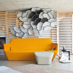 House Living Room Interior With Modern Sofas Vibrant Orange Color Modern Concrete - Karbonix