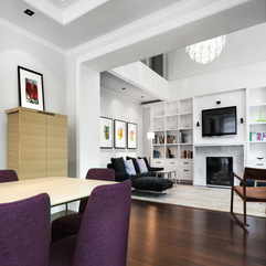 Interior Contemporary White Home With Black And Purple Interior - Karbonix