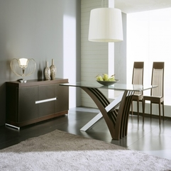 Interior Creative Grey Fur Carpet With Modern Wooden Table Also - Karbonix