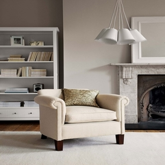 Interior Sleek Grey Fabric Upholstered Armchair At The Living - Karbonix