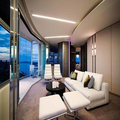 Interiors With Great Glass Wall Modern Apartment - Karbonix