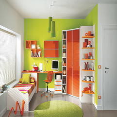 Kids Bedroom With Green Wall Orange Furniture Cute - Karbonix