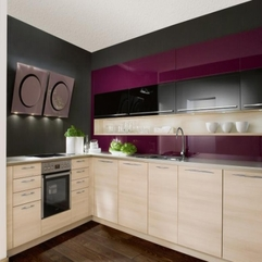 Kitchen Natural Wood Cabinets Purple Gray - Karbonix