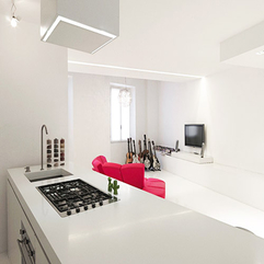 Kitchen Next To Living Room With Guitars Red Sofa Lcd Tv Small White - Karbonix