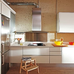 Kitchen With Exposed Bricks Pristine White - Karbonix
