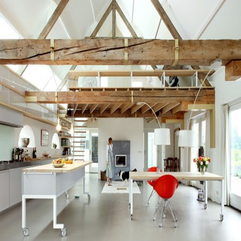 Kitchen With Wooden Ceiling White Theme - Karbonix
