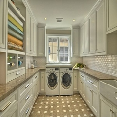 Laundry Room With Drawer Pulls White Cabinets - Karbonix