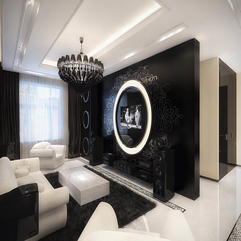 Living Room Interior Decoration In Contrast Balck White Color Looks Elegant - Karbonix