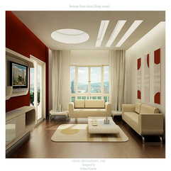 Living Room With Red Wall Interior Luxurious - Karbonix