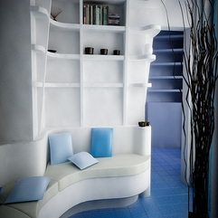 Living With Curvy Shaped White Sofa White Blue - Karbonix