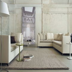Loft Living Room With Cream Sofas And Light Brown Rugs Minimalist Urban - Karbonix