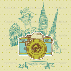 Lovely Card Vintage Camera With Europe Architecture In Vector - Karbonix