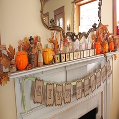 Lovely Fireplace Thanksgiving Decoration With Scrabble Ornament - Karbonix