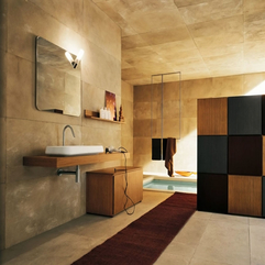 Luxurious Bathroom Design With Retro Lighting And Large Stone Walls - Karbonix