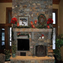 Mantel With Green Plants Decorate Fireplace - Karbonix