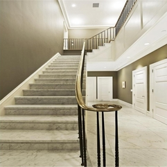 Marble Stair With Silver Curved Stair Luxurious White - Karbonix