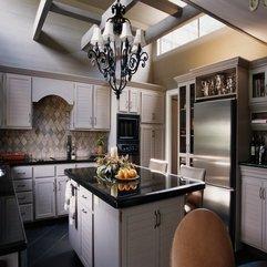 Marble Table Kitchen With Exotic Refrigerator Cabinet Retro Chandelier Dark - Karbonix