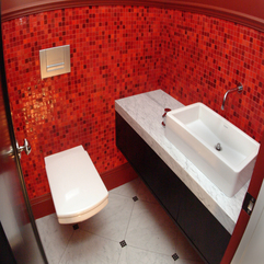 Mesmerizing Red Recycled Glass Wall Tiles With Cool White Single - Karbonix
