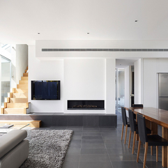 Best Inspirations : Minimalist Fireplace Next To Screen Flat TV In Open Plan - Karbonix