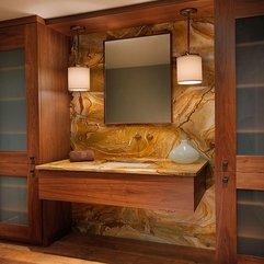 Minimalist Wood Cabinet Stone Slab Vanity With - Karbonix