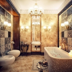 Modern Luxury Bathroom Design With Chandelier And Bathtub With - Karbonix