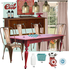 Mood Board Turquoise And Red Dining Room Farmhouse Inspired - Karbonix
