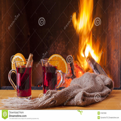 Mulled Wine At Cozy Fireplace Firelight Only Royalty Free Stock - Karbonix