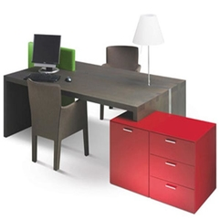 Office Desk With Red Shelves The Memo - Karbonix