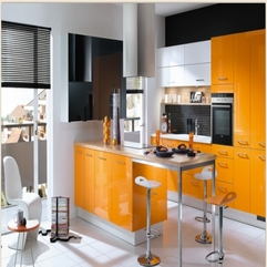 Orange Kitchens With Black Combine Looks Elegant - Karbonix
