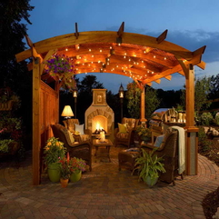 Patios With Outdoor Decorative Lighting Covering - Karbonix