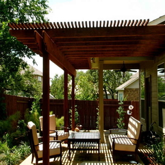 Patios With Outdoor Wood Table Covering - Karbonix