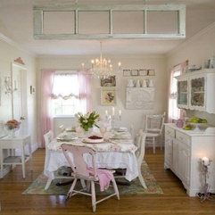 Pink And White Shabby Chic Idea In Small Kitchen Design Integrated - Karbonix