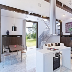 Plan Kitchen Concept With White Island And Marble Floors Modern Open - Karbonix