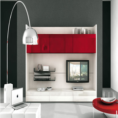 Plastic Tv Cabinet White Red - Karbonix