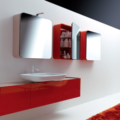 Pretty Fabulous Colorful Bathroom In Red White Daily Interior - Karbonix