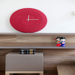 Red Clock On Wooden Shelf Above Cute Ornament Grey Table Looks Fancy - Karbonix