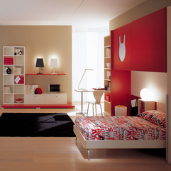 Best Inspirations : Red Color Scheme With Beautiful Black Rug Kids Bedroom - Karbonix