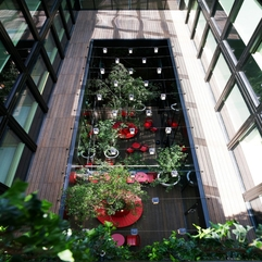 Red Interior Viewed From Upstair Luxurious Restaurant - Karbonix
