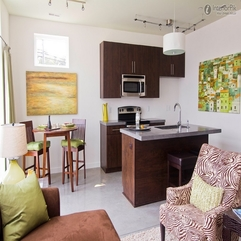 Retro Small Apartment Open Plan Kitchen Renovation Renderings - Karbonix