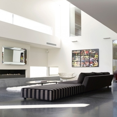 Robinson Road Residence Bright Living Area With Stripe Grey Sofa In Modern Style - Karbonix