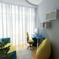 Room With Blue Desk Yellow Chair And White Bookshelves Minimalist Study - Karbonix