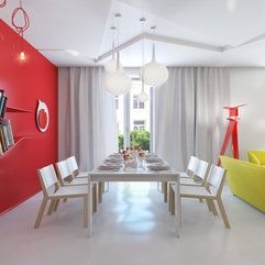 Room With Red White Wall White Dining - Karbonix