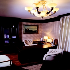 Room With White Leather Chairs And Amazing Chandelier Luxury Study - Karbonix