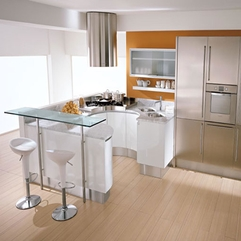 Serving Table In Front Of Chic Modern Rounded Kitchen Sumptuous Microwave Glass Ware - Karbonix