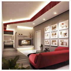 Sharp Modest Living Room With Red And White Scheme Trend Decoration - Karbonix